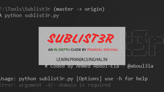 sublist3r tutorial by pranjal singhal